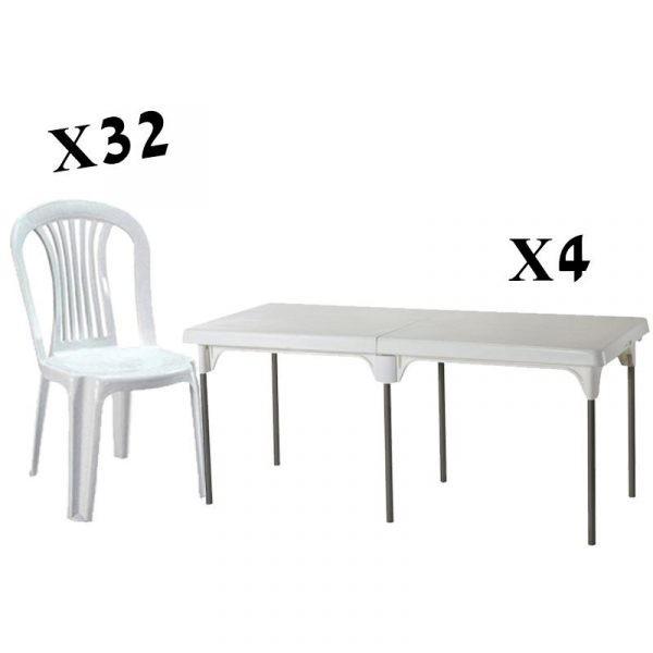 השכרת חבילת 4 שולחנות ו-32 כסאות