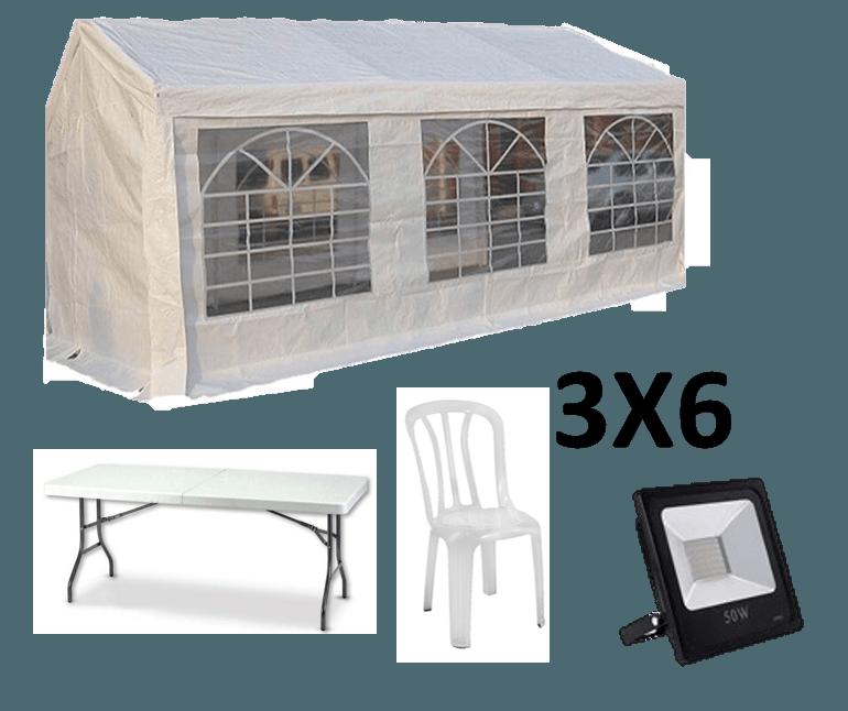 אוהל אבלים 3X6 - כולל כסאות, שולחנות ותאורה