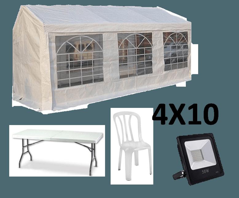 אוהל אבלים 4X10 - כולל כסאות, שולחנות ותאורה
