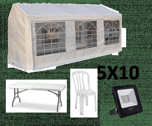 אוהל אבלים 5X10 - כולל כסאות, שולחנות ותאורה